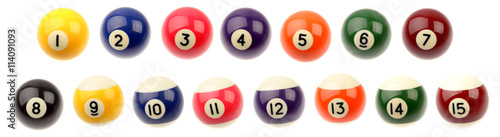 Fotografie, Tablou  Fifteen pool snooker balls on plain background