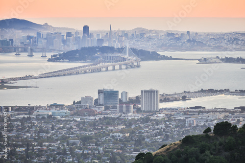Canvas Prints San Francisco Sunset over San Francisco, as seen from Berkeley Hills. Aerial view of San Francisco from Grizzly Peak in Berkeley.