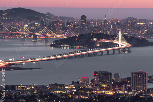 Dusk over San Francisco, as seen from Berkeley Hills Fototapeta