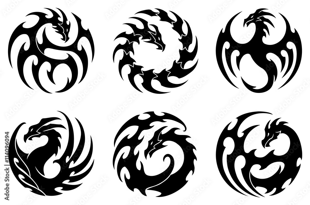 Poster Foto Vector Illustration Set Of Round Tribal Dragon Tattoo