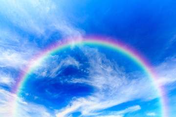 Blue sky and clouds and rainbow