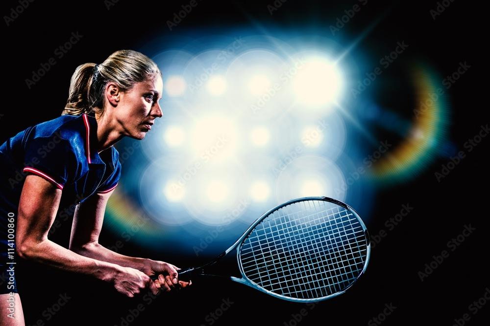 Fotografie, Obraz  Kompozitní obraz tenista hrající tenis s raketou