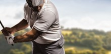 Composite Image Of Portrait Of Golf Player Taking A Shot