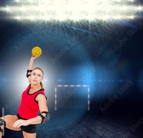 Zdjęcie XXL Złożony wizerunek żeńskiej atlety miotania handball
