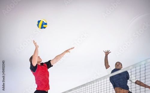 Composite image of sportsman posing while playing volleyball Canvas Print
