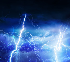 Lightnings, thunder and rain during summer storm