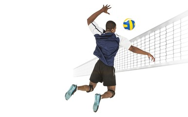 FototapetaRear view of sportsman posing while playing volleyball