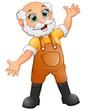 Old farmer waving hand