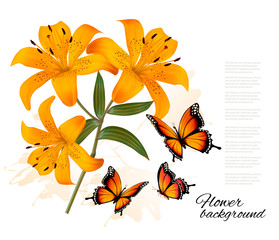 Flower Background With Three Beautiful Lilies and Butterflies. V