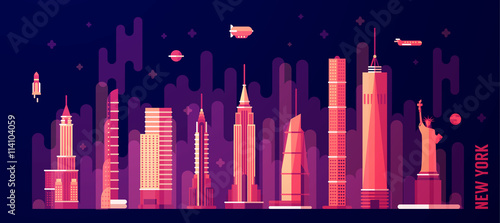 New York city skyline vector flat style