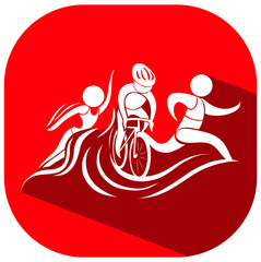 Panel Szklany Sport Sport icon for triathlon on red background