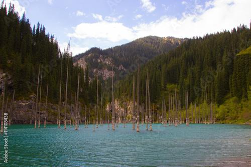 Spoed Foto op Canvas Cappuccino Kaindy mountain lake in Kazakhstan
