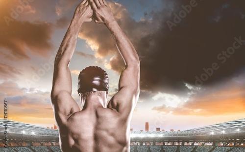 Photo  Composite image of swimmer preparing to dive