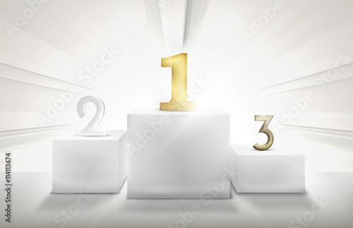 Fotografie, Obraz  Winner Podium 1st 2nd 3rd 3D Render