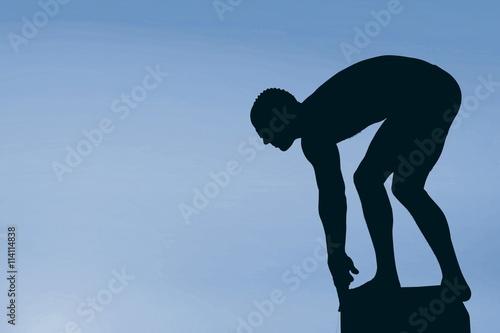 Composite image of swimmer preparing to dive Canvas Print