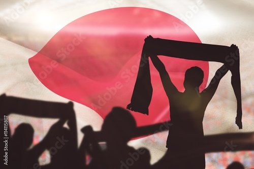 Aluminium Prints Composite image of silhouettes of football supporters