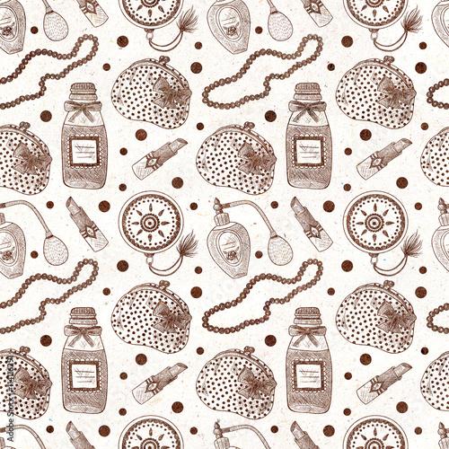 Cotton fabric Vintage cosmetics. Perfume, lipstick, hand mirror, necklace, purse. Seamless textured pattern