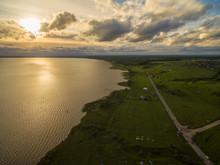 Beautiful Lake At Sunset - Aer...