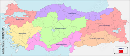 Political Map Of Turkey With Names Buy This Stock Vector And