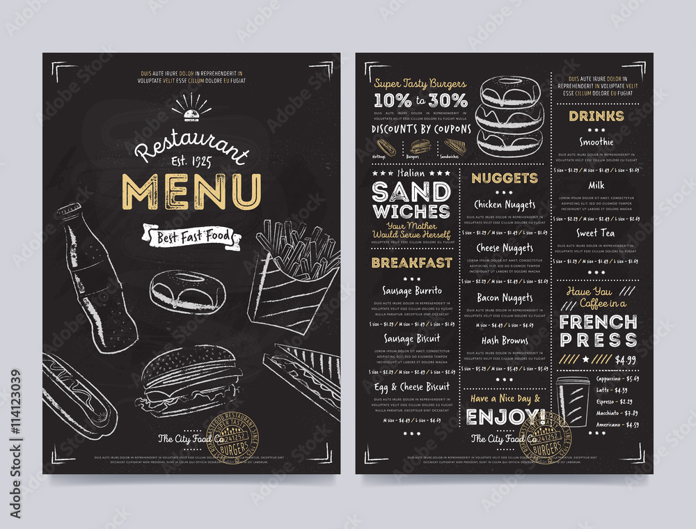 Photo Art Print Restaurant Cafe Menu Template Design On Chalkboard Background Vector Illustratio