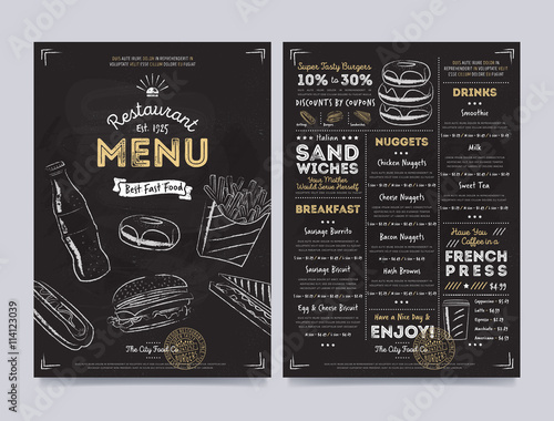 Obraz Restaurant cafe menu template design on chalkboard background vector illustration - fototapety do salonu