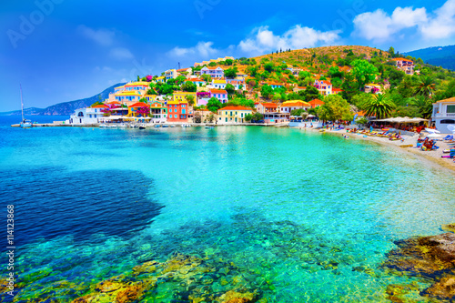Photo Stands Turquoise Assos beach in Kefalonia, Greece