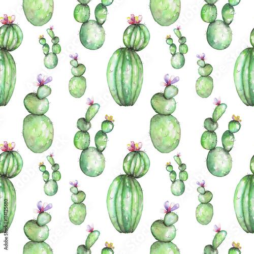 bezszwowy-wzor-z-akwarela-roznorodnymi-rodzajami-kaktusy-reka-rysujaca-na-bialym-tle
