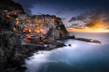 Sunset Over Silky Sea At Manarola, Cinque Terre, Italy