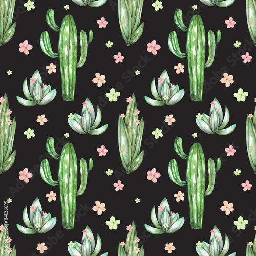 Cotton fabric A seamless pattern with the watercolor various kinds of cactuses and flowers, hand drawn on a black background