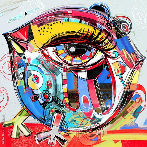 oryginalne abstrakcyjne malarstwo cyfrowe grafika z doodle ptaka, grzęda