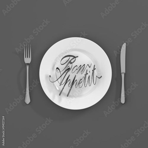 Fotografia, Obraz Bon apetit Quote Typographical Background