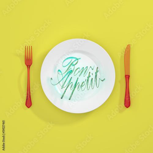 Tableau sur Toile Bon apetit Quote Typographical Background