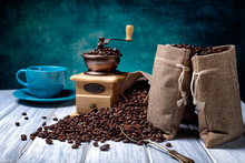 Jute Bags With Coffee Beans An...