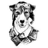 Hand drawn dressed up dog aviator - 114128023