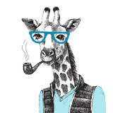 Hand drawn Illustration of giraffe hipster - 114128068
