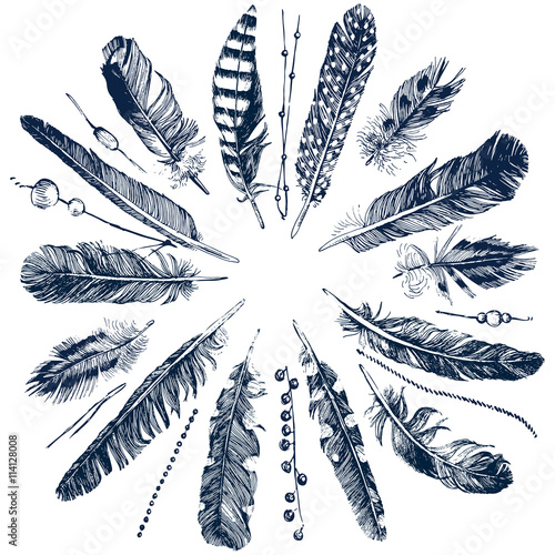 Tribal theme background with feathers