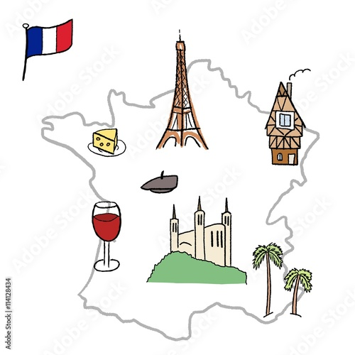 Photo  France map with landmarks