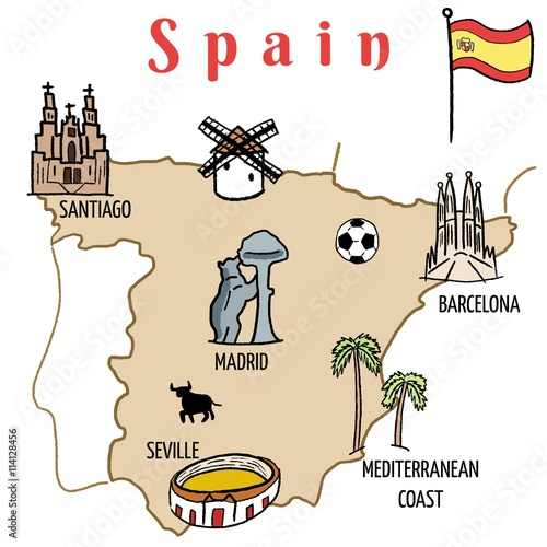 Spain map with landmark drawings Wallpaper Mural