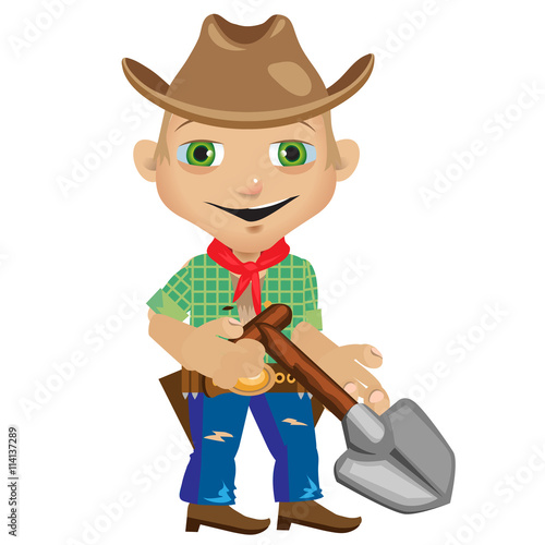 Aluminium Prints Wild West Male farmer with shovel in westerns style