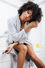 Beauty Young African American Woman In Bathrobe With Tooth Brush Taking Morning Care Of Herself, Lifestyle Concept