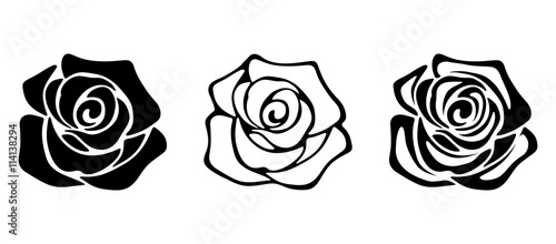 Photo Set of three vector black silhouettes of rose flowers isolated on a white background