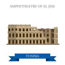Amphitheatre Of El Jem Tunisia Flat Historic Vector Illustration