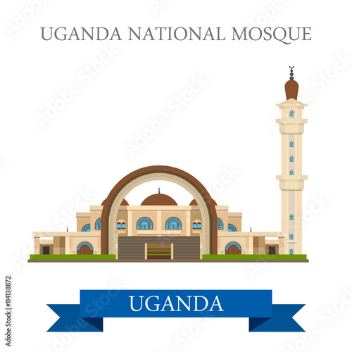 Poster Castle Uganda National Mosque. Flat historic web vector illustration