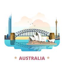 Australia Country Design Template Flat Cartoon Style Web Vector