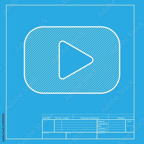 play button sign white section of icon on blueprint template buy