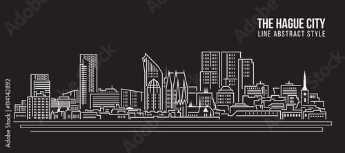 Photo Cityscape Building Line art Vector Illustration design - The hague city