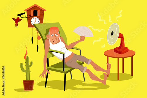 Fotografía  Mature man sitting in his house in a very hot summer day with a fan, EPS 8 vecto