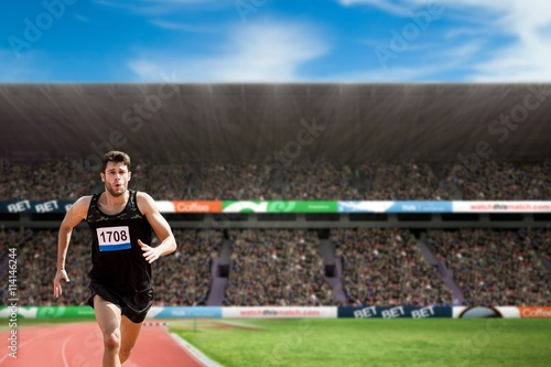 plakat Composite image of fit man running against white background