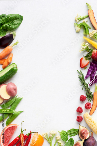 Healthy fresh food border of fresh raw multi-color produce