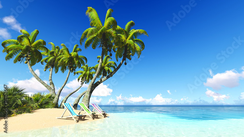 Fototapety, obrazy: beach and palms blue sky clouds 3D rendering